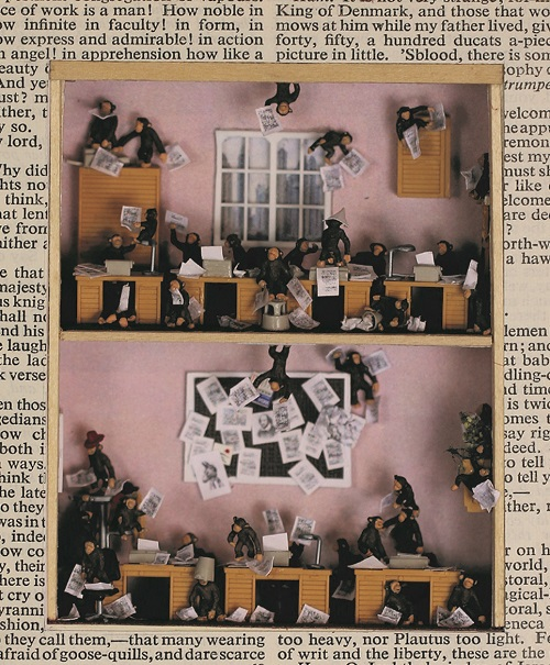 Monkey figurines all over the place in a two storey house resembling a classroom. There are desks on both floors. On the centre of the lower floor's wall there is a pin-board, with scattered pages of Shakespeare's works, and his portrait at the centre. Monkeys are flinging these pages all over the place.